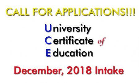 December, 2018 UCE Intake